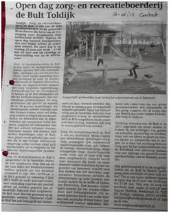 Open dag zorg- en recreatieboerderij de Bult Toldijk